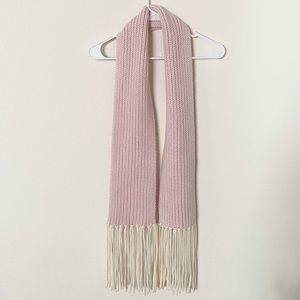 J.Crew Wool Cashmere Pink Knit Chunky Fringe Scarf